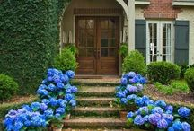 CURB APPEAL / White Farmhouses, Country estates, long driveways, beautiful entrances and front gardens. #curbappeal #longdriveway