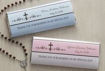 Religious Gifts / Our Personalized Religious Gifts and Party Accessories are perfect for your First Communion, Confirmation and all of your religious celebrations!! Get Personalized candy bar wrappers, personalized crosses, and more! #personalized #religiousgift #firstcommunion #confirmation #firstcommunionparty #candybarwrapper #cross #personalizedcross #religiousgift #customcross