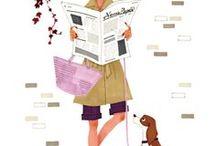 Cute illustrations / illustrations, drawings, paintings, art, watercolor illustrations, digital art, fashion illustrations