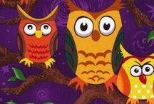 Nite Owls by Judy Hansen / Wonderfully cute, whimsical owl fabric designed by Judy Hansen for Paintbrush Studio.