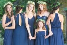 Bridesmaids / ideas for my girls - navy blue, long, chiffon, unique, possibly add sparkly belt
