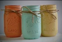 Mason Jar Makeover / DIY Decorating With Mason Jars, Bottles, & Tin Cans Using Paint, Burlap, Lace, Twine / by Robyn Hallock R & R Signs