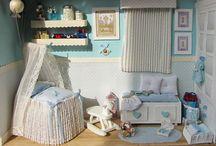Miniaturas Escenas bebé / Manualidades para regalos de nacimientos y bautizos. Miniaturas.