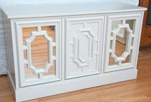 DIY Mirrored Furniture / DIY Mirrored Furniture is a great alternative to these glamorous pieces which sell for top dollar in pricey stores.  It's easy to turn an old out-dated dresser, side table or headboard into a  beautiful trendy eye catcher.  Here are some great DIY examples which I hope will inspire you!