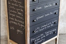 DIY ChalkBoard Inspirations / ChalkBoard Paint is all the rage these days.  It's AMAZING what you can re-purpose and breath new life into armed with a brush/roller and some ChalkBoard Paint.  Here are some great ideas which have inspired me.