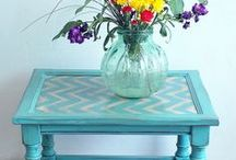 Chevron / Painted Chevron Furniture is a growing trend that can add interest and color to any room! Here are some inspiring examples. Go grab a cup of coffee and enjoy! :) ~ Denise