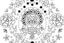 Bordado y Día de Muertos / Embroidery an Day of the Dead. / Bordados inspirados en las calaveritas y el colorido del día de muertos en México.