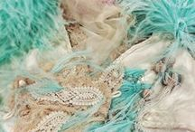 Aqua and champagne and teal / Wedding and evening dress inspiration