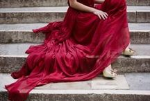A girl in a red silk cloak, Venice, 2015 / A romantic elopement shoot in Venice, shot by Archetype, with styling by Sapphire Events...featuring crimson silk chiffon 'Peitho' gown and cloak