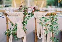 wedding chair decor. / Organic and romantic wedding chair decor.