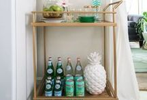 Bar Carts / Lots of inspiration and ideas for styling your bar carts!