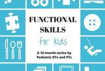 Functional Skills for Kids 12 Month Series by OTs and PTs / All the different aspects of functional skills for children including developmental time lines, fine motor considerations, gross motor considerations, sensory considerations, visual perceptual considerations, accommodations and modifications, activity ideas, and more.
