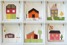 Quilts ~ House Blocks / House Blocks for quilts made from fabric.