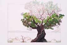 Genähte Bilder - Bäume