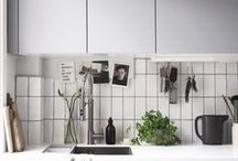 KITCHEN IDEAS / Inspiration for lovely light Scandi kitchens, featuring lots of open shelving ideas, grey units, metro tiles and clever space saving ideas