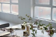 CHRISTMAS DINING TABLE / Inspiration for an alternative christmas table - lots of greenery, candles, white linen tablecloths and handmade table decorations