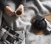 SNUGGLE + SLEEP / Simple, slow living - nest at home with cosy corners, warm blankets, burning fires, steaming cups of tea and piles of magazines
