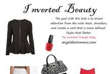 Inverted Triangle Beauty's (Styles That Flatter) / Giving you the tips and tools of how to dress your inverted triangle shape from a woman who has this body, The key to make the body look more visually balanced by making the hips look broader and keeping the top half clean and uncluttered. / by Inverted Beauty with AngelaBSimmons