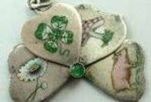 Vintage Charms - Shamrocks & Clovers / Vintage and Antique Lucky Shamrocks & 4 Four Leaf Clover Silver & Green Enamel Charms, pendants, necklaces. Good Luck, Irish & Ireland Charms.