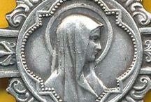 Antique Silver Religious Medallions / Vintage Antique Art Nouveau Silver Religious Medallions from France, Germany, Austria & Italy, Enamel Religious charms, Silver religion charms.