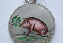 Lucky Pigs - Vintage Charms & Bracelets / Antique & Vintage Silver & Enamel Lucky Pig Charms. Boars, pigs, piglets, piggies, Oink.