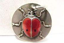 LadyBugs & Mushrooms - Vintage Charms & Bracelets / Lucky Lady bugs and Lucky Mushrooms vintage silver and enamel charm bracelet charms.
