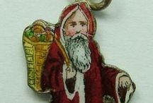 Christmas - Vintage Charms & Bracelets / Vintage Silver & Enamel Christmas Charms. Santa, Christmas Trees, Elves,