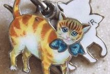 Cats & Kittens - Vintage Charms & Bracelets / Vintage Silver and Enamel Bracelet Charms - Cats & Kittens
