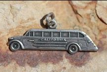 Travel Theme - Vintage Charms & Bracelets / Travel Charms, Travel shield charms, Silver travel charms, Enamel travel Charms, Souvenir charms to document places that you've traveled.