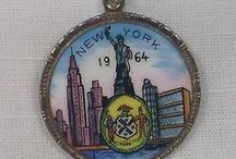 New York Charms - Vintage Charms & Bracelets / Vintage silver, gold, enamel charms related to New York City, NYC or New York State locations & Attractions. Empire State, Statue of Liberty, etc.