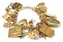 Gold Charms & Bracelets - Vintage Charms / Vintage Gold Bracelet Charms, Gold & Enamel Charms