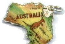 Australia Charms - Vintage Charms & Bracelets / Vintage and New Australia Travel Charms - Australia Charms, New Zealand Charms, Tasmania Charms, Enamel Australia Charms, Silver Australia Charms, Australian Charms