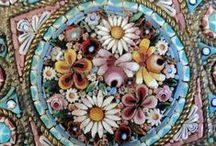 Micro Mosaic Jewelry - Pins, Pendants, Brooches / Micro Mosaic Millefiori Jewelry - Pins, Pendants, Brooches. Made in Italy