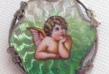 Angels, Cherubs, Cupid - Vintage Charms / Vintage Silver & Enamel Angel charms, vintage cherub and Cupid charms.