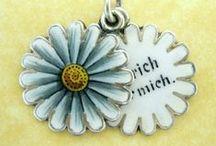 Antique Enamel Sliders - Vintage Charms & Bracelets / French Antique Silver & Enamel Slider Charms. Flowers & Words.