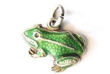 Frogs, Bugs, Insects & Butterflies - Vintage Charms / Vintage Silver and enamel frogs, insects, bugs, butterflies, butterfly charm, frog charm, insect charm, bug charm, bees,