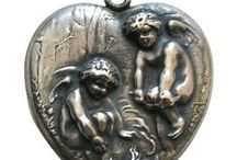 Unger Games - Unger Charms Art Nouveau / Unger Brothers Art Nouveau Charms, Unger Bros. Pendants, Brooches, Pins, Silver Jewelry