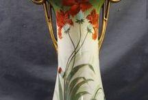 Art nouveau vases, lamps