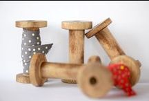 wooden ribbon spools / The New England Shop