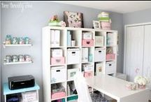 Craft Room and Home Office Design / Craft Room | Office | Studio | Craft Room Organization | Bonus Room | White | White Craft Room | Organized Craft Room
