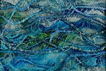 Mixed media materials: Fabric / Mixed media paintings with lace, hessian, curtains, and other fabrics have been used