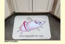 Designer Floor Mats / Add color to your home with a designer floor mat! A perfect addition to your kitchen, bath, doorway, RV, boat, and office. The colorful and original artwork is protected by an extra thick 75ml vinyl surface which provides long-lasting durability even in high traffic areas. Stain resistant and easily cleaned with a sponge and mild soapy water. Choose between anti-skid or anti-fatigue foam back. MADE IN THE USA. FREE SHIPPING
