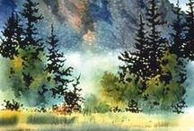 illustrations paysages / paysages dans l'art pour illustrer des pages de scrap