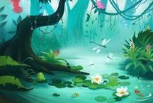Lush enviroments / Fluffy and gorgeous illustrated environments.