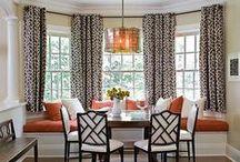 Bay Window / Bay window decorating - window treatments, cushions, pillows.