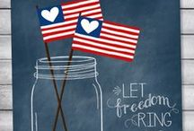 4th of July / All things red, white + blue! We LOVE the USA!
