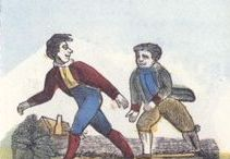 Pedestrianism/Foot Racing during the Regency / A Georgian and Regency era form of competitive walking, often professional and funded by wagering, from which the modern sport of racewalking developed. Board includes foot racing.