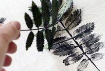 Print | Gedrucktes / All kind of printing. Block prints, natural printing. Rubber stamps, screenprinting. Patato print.