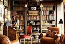 Dreaming of my own Book Lined Room / One day I will own a house with a book lined room, a desk facing the window, an open log fire and a beautiful view to inspire me to write.