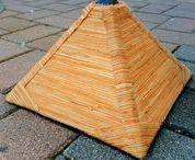 Amazing Art Geometric Sculpture Art / Geometric Sculpture art made from Bamboo paper & Clay Pyramid Sculptures